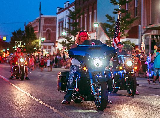 Bike Night at Sturgis Fest in downtown Sturgis, Michigan